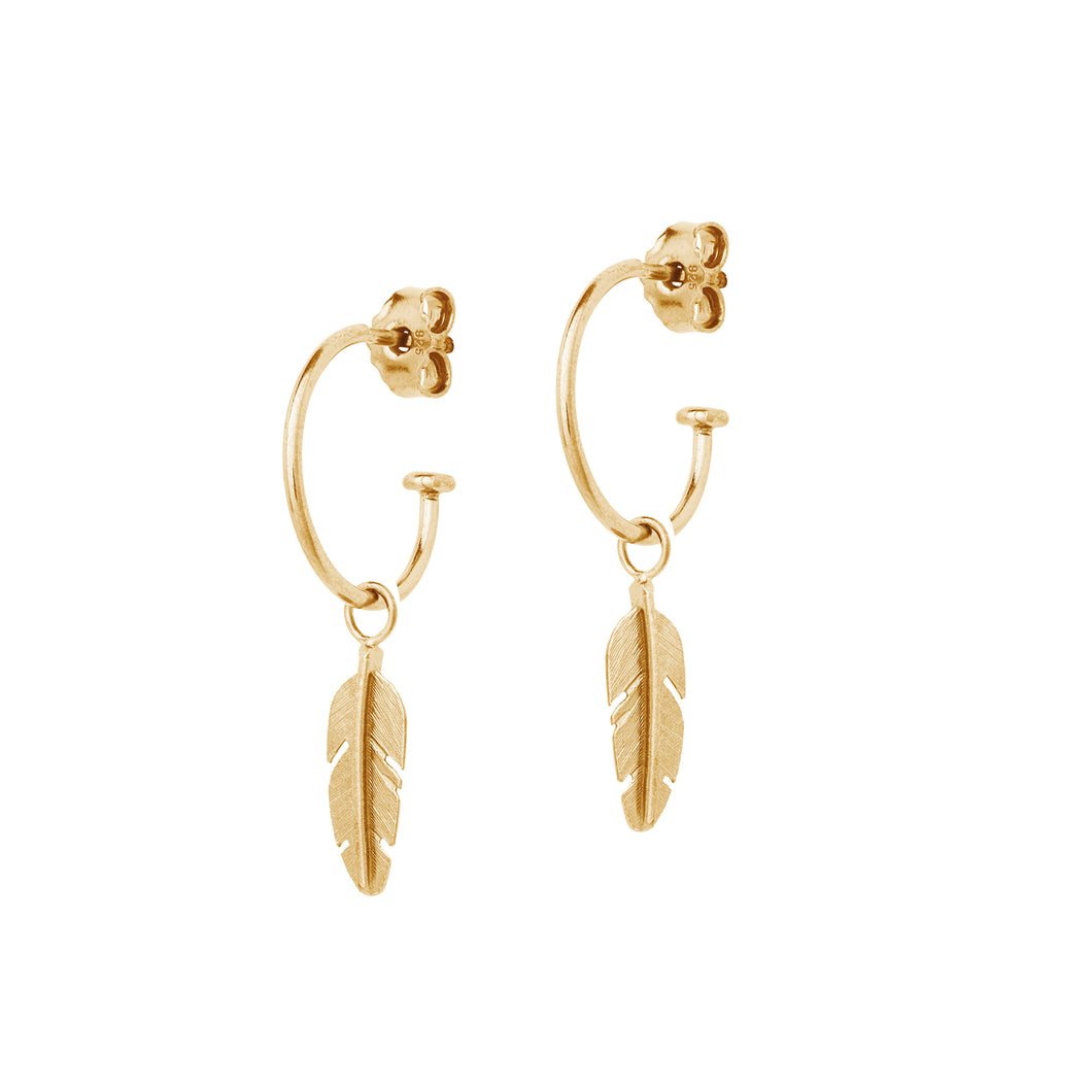 Gold Hoop Earrings with Mini Feather