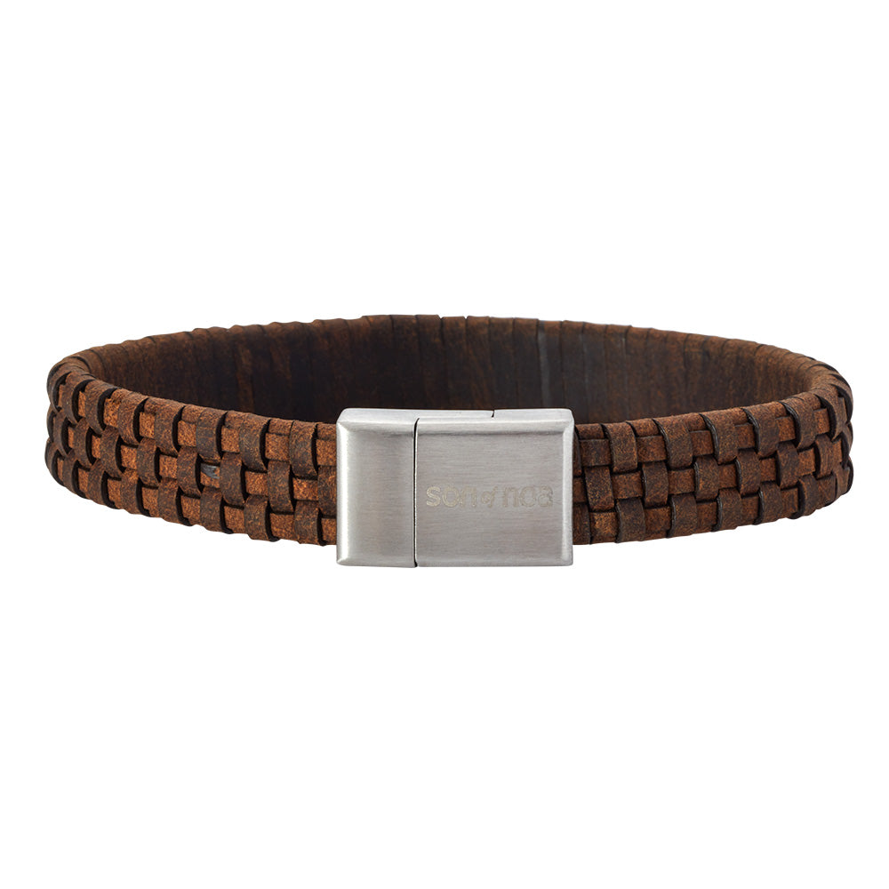 Leather Bracelet Brown 21 cm