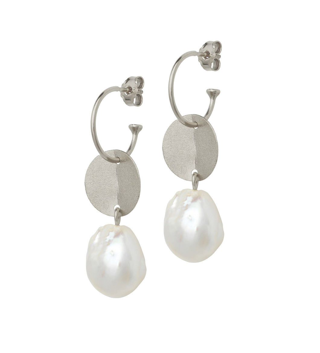 Baroque Pearl Earrings with Silver Coin on Silver Creol