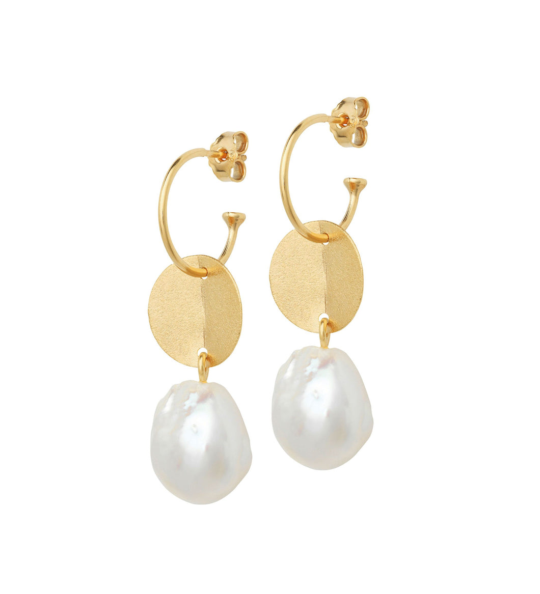 Baroque Pearl Earrings with Gold Coin on Gold Creol