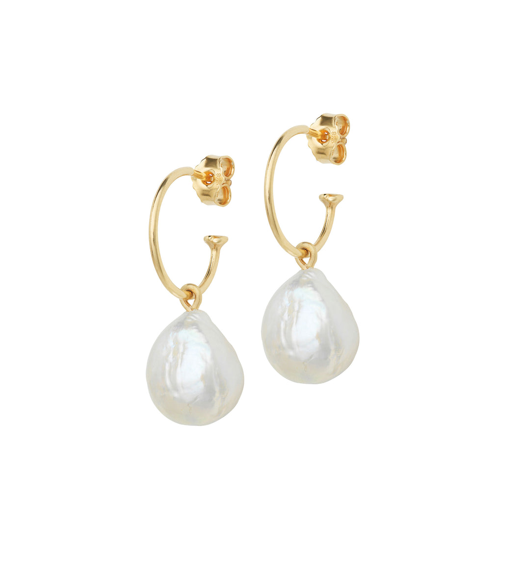 Baroque Pearl Earrings on Gold Creols