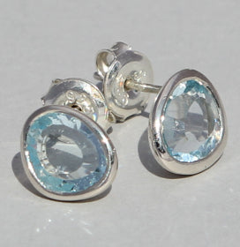 Blue Topaz Stud Earrings.