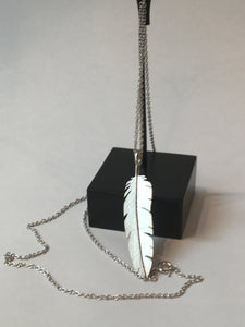 Silver Feather Pendant Large