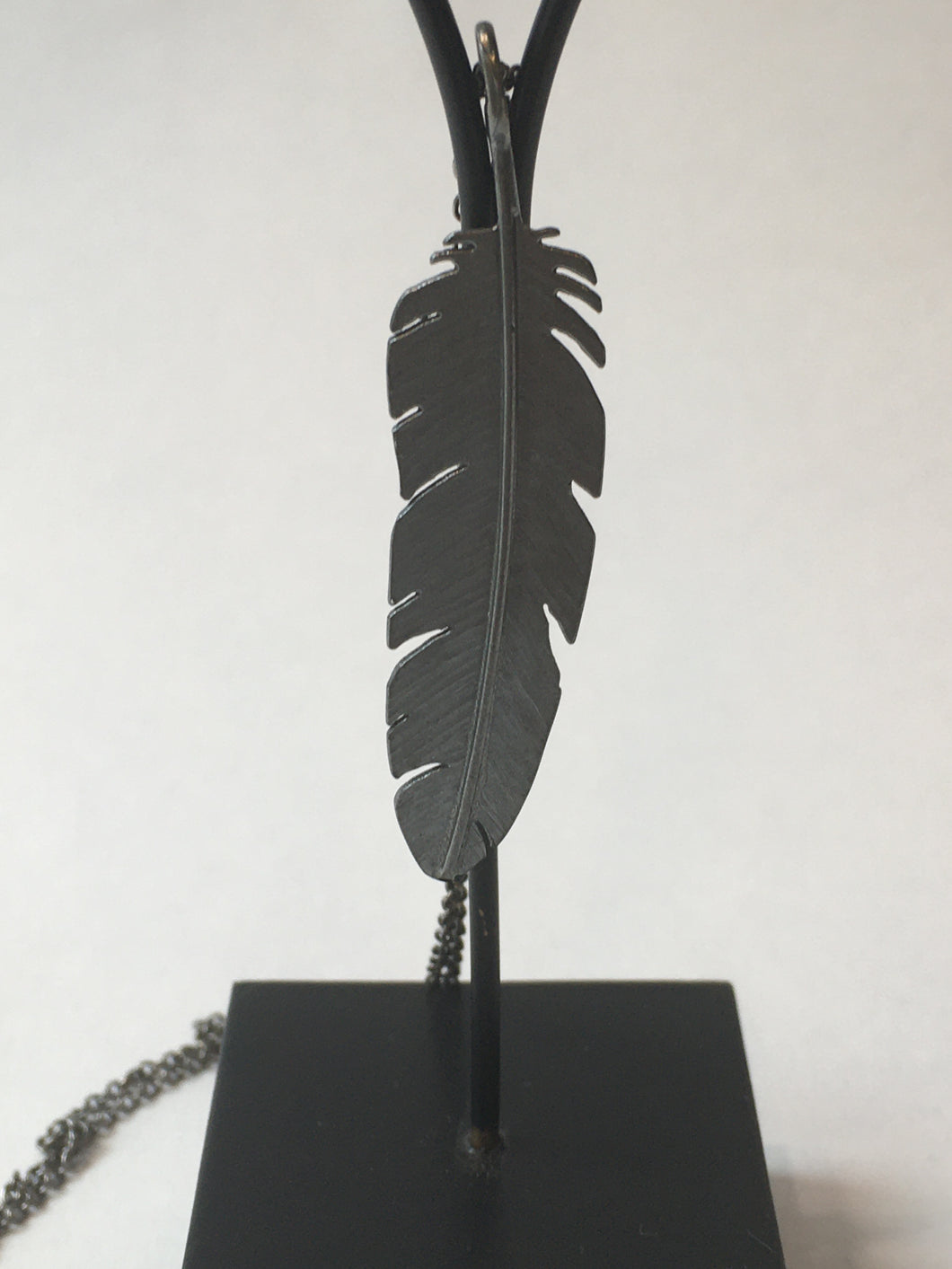 Oxidised Silver Feather Pendant Large