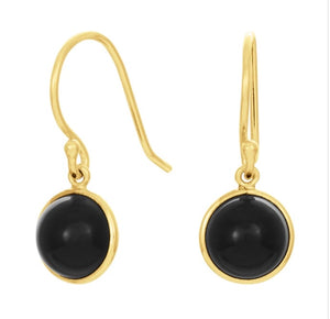 Drop Stone Earrings Black Onyx