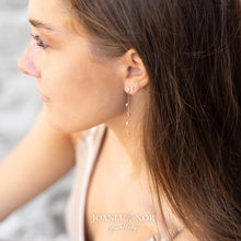 Load image into Gallery viewer, Gold Drop Chain CZ Earrings