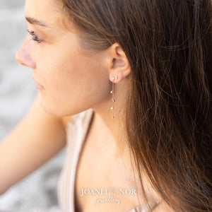 Gold Drop Chain CZ Earrings