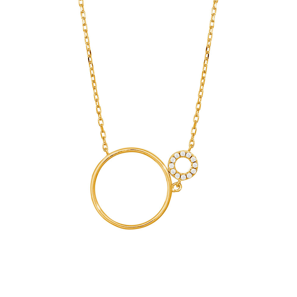 Gold Fine Sparkle two Circle Necklace
