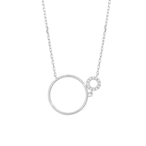 Silver Fine Sparkle two Circle Necklace