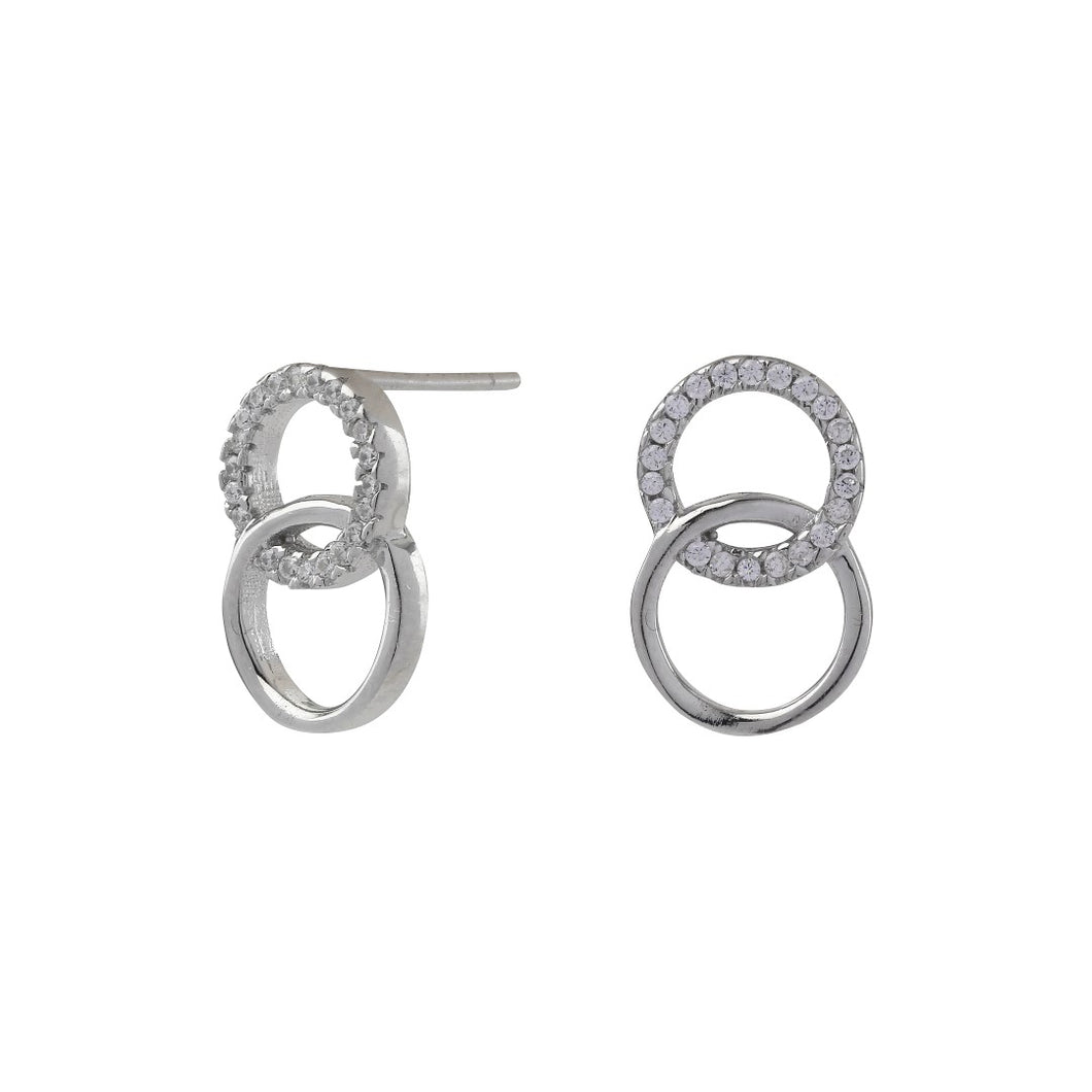 Sterling silver earrings Two Circle zirconia