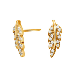 Gold Feather Stud earrings  with zirconia