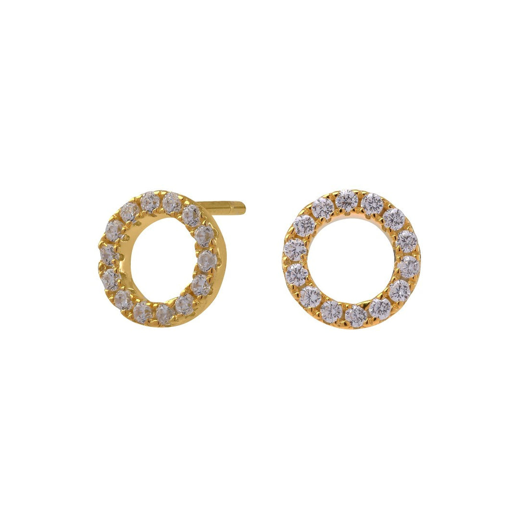 Gold Plated Sterling silver Stud Circle Earrings. 8mm
