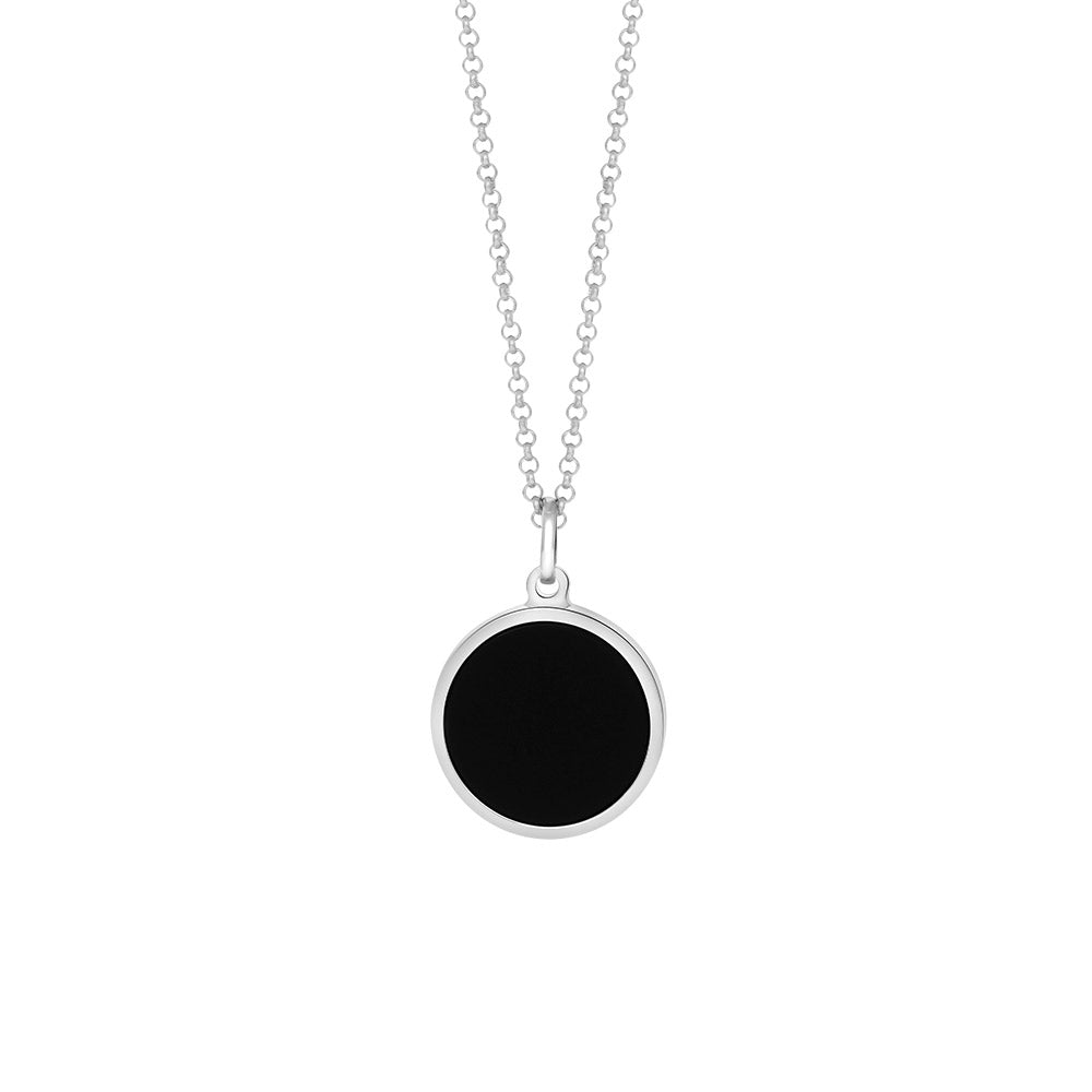 Men's  rhodium-plated sterling silver and Black Onyx necklace