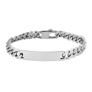 Men's Steel Bracelet panzer style with plate 21 cm