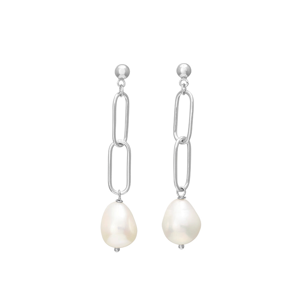 Silver Earring Baroque Freshwater Pearl 50mm