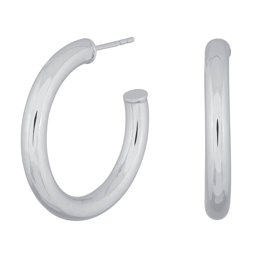 Thick Silver Hoops 30mm