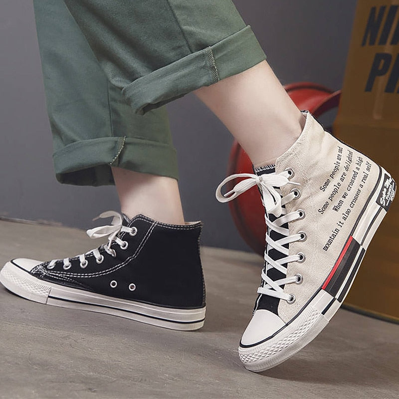 High Top Canvas Sneakers - Unico shop co