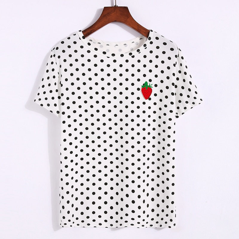 Polka Dots Lovely Strawberry T-shirt - Unico shop co