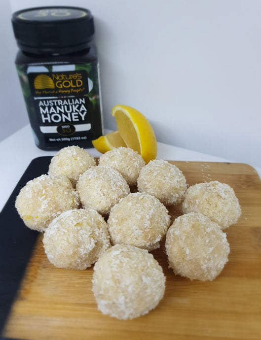 Manuka Honey, Lemon & Coconut Balls