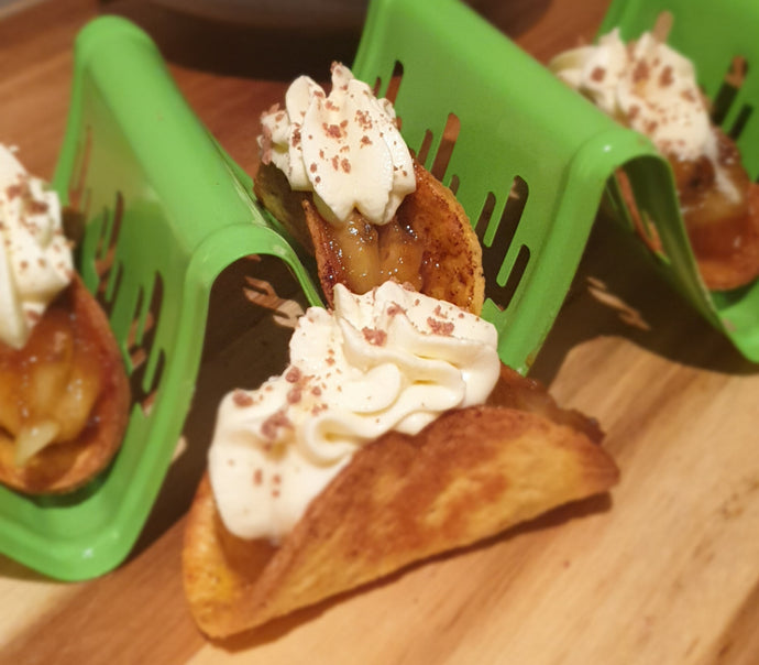 Banoffee Tacos with Whipped Honey Cream