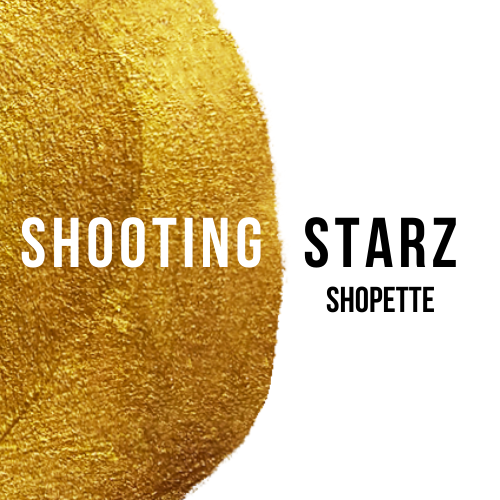 Shooting Starz Shopette logo - black white and gold