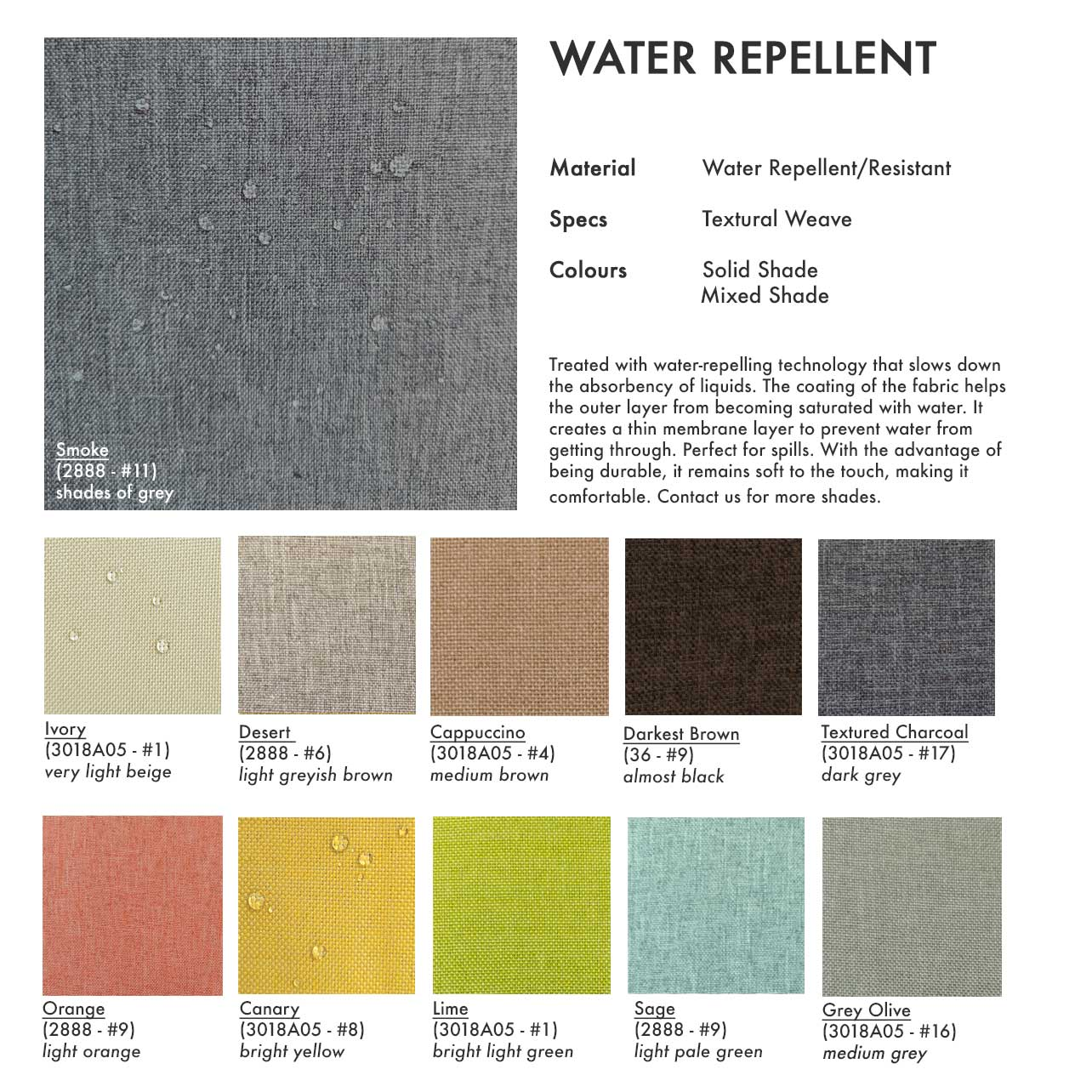 water repellent fabric swatch