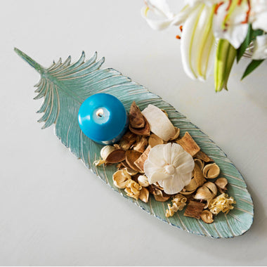 Aqua Resin Feather Tray