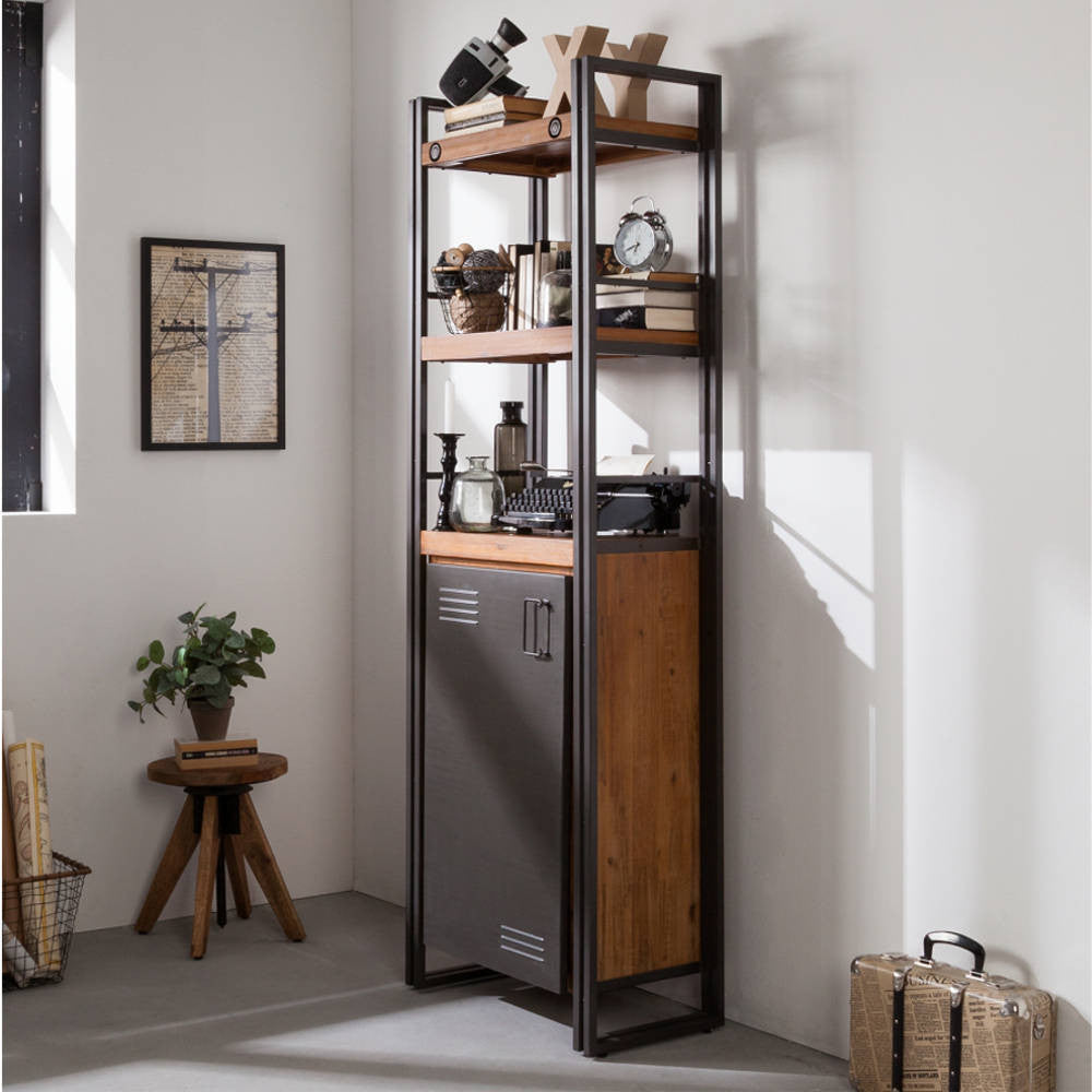 City Bookshelves with Metal Door