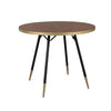 Ashwood Veneer on MDF Tabletop with Dark Wood Grains and Gold-lacquered. Modern round dining table on Sleek Toothpick Legs.