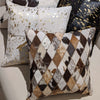 Diamond-Stitch Cowhide Cushion Cover