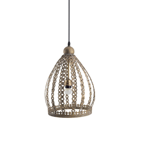 Embossed Antique Metal Pendant Lamp, Large