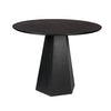 Ash Veneer Black MDF round dining table with Geometric Pedestal Base