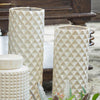 White Geometric Ceramic Vase