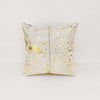 White Gold Cowhide Cushion Cover