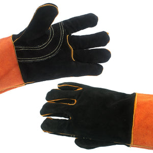 Outdoor Bbq Gloves Camping Fire Barbecue Cowhide High Temperature Insulation Thickened Long Welding Protective Gloves