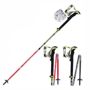 Carbon Fiber Steel Walking Climbing Staff Folding Nordic Sticks Ultra-light Adjustable  5-section  Cane Trekking Pole
