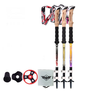 2 Colors Adjustable Trekking Hiking tools Pole 3-section 57cm-120cm With Dropshipping 1pc Black Golden Or Black Gray