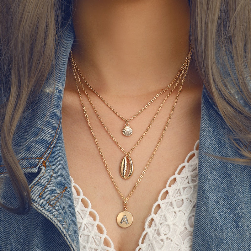 New Fashion Women Personality Shell Gold Pendant Multilayer Necklace Jewelry