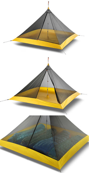 995G Camping Inner Tent Ultralight 3-4 Person Outdoor 20D Nylon Sides Silicon Coating Rodless Pyramid Large Tent Campin 3 Season