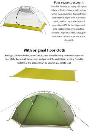 3F UL GEAR Green and white 3 Season 4 Season Camping Tent 15D Nylon Fabic Double Layer Waterproof Tent for 2 Persons