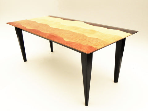 Mountain view coffee table ebonized /black walnut, curly maple, curly birch, cherry/
