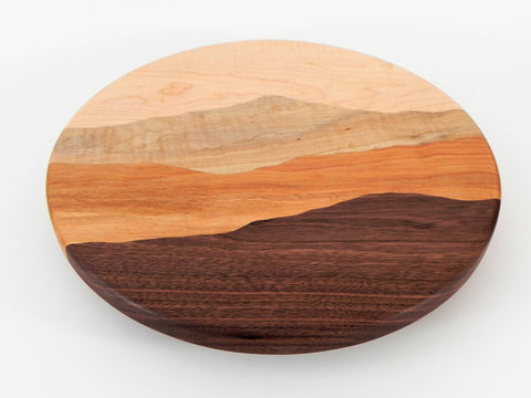 Mountain View Lazy Susan /Curly maple, Curly birch, Black walnut, Cherry/