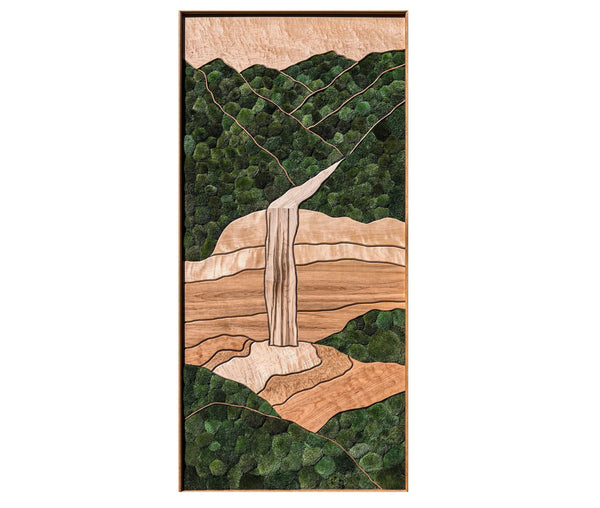 Waterfall in the Mountains moss wall art /Maple, cherry, birch, preserved moss/