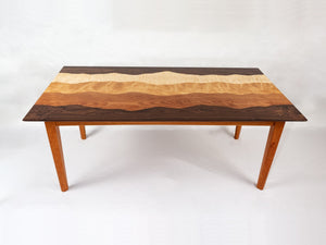 Mountain view coffee table /black walnut, curly maple, curly birch, cherry/