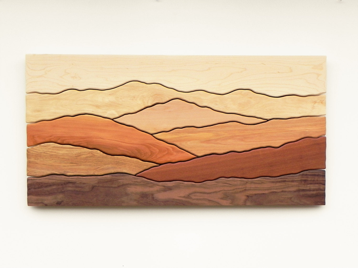 Mountain scene wood wall art
