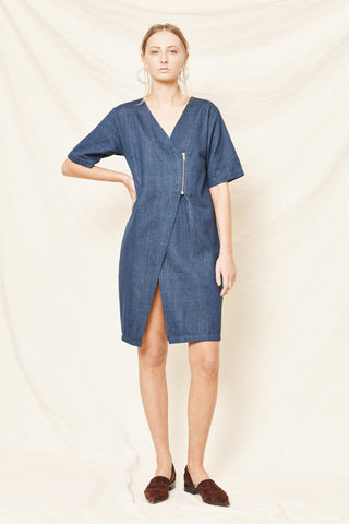 PRE-ORDER: Zip Wrap Dress - Handwoven Denim - Arc & Bow
