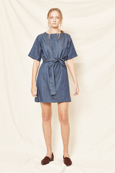 Drama Dress - Handwoven Denim - Arc & Bow