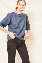 Drama Tee - Handwoven Denim - Arc & Bow