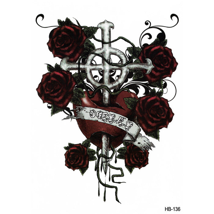HB136 RED ROSE AND CROSS OF CHRIST