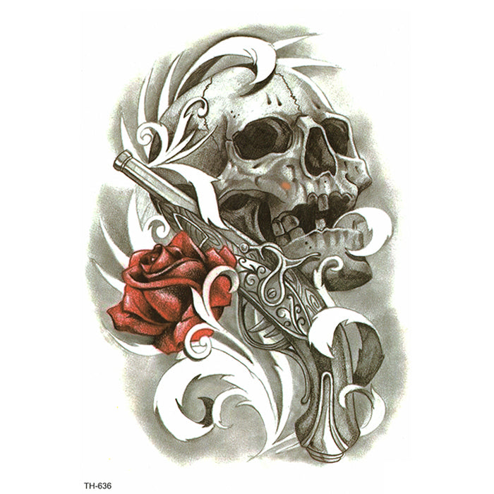TH636 SKULL RED ROSE